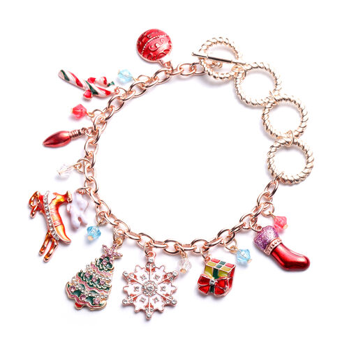 Simulated Multi Colour Gemstone, White and Pink Austrian Crystal Multi-Charm Christmas Theme Enamell