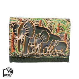 SUKRITI 100% Genuine Leather RFID Protected Elephant Family Wallet (Size 11.5x20.5x2.5cm) - Olive Gr