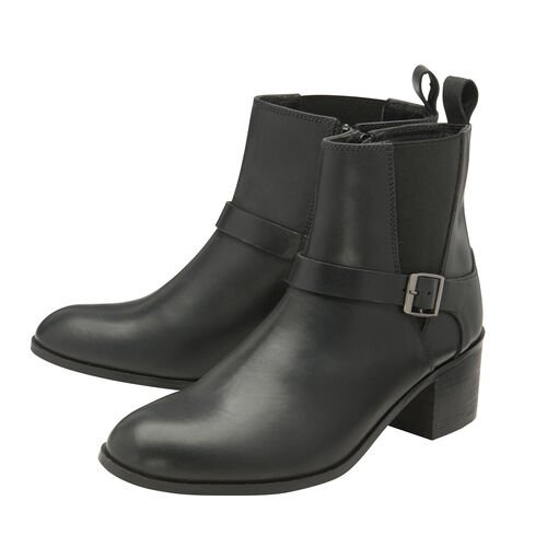 Ravel Black Kingsley Leather Heeled Ankle Boots (Size 4)