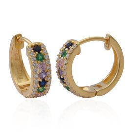 ELANZA Simulated Rainbow Sapphire and Simulated Diamond Hoop Earrings in Yellow Gold Plated Silver