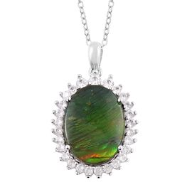 AA Canadian Ammolite (Ovl 16x12 mm), Natural White Cambodian  Zircon Pendant With Chain in Rhodium O
