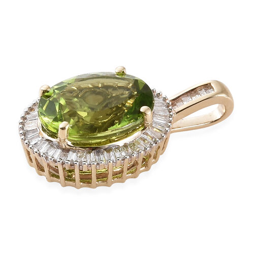 Collectors Edition - 9K Yellow Gold Extremely Rare Size AAA Hebei  Peridot (Ovl),Diamond Pendant 4.00 Ct.