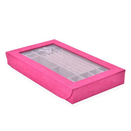 Rectangular Pink Colour Velvet Jewellery Box (Size 37.8X23X5 Cm)
