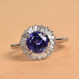 Sundays Child- 950 Platinum AAAA Tanzanite and Diamond (VS/E-F) Ring  1.75 Ct, Platinum wt. 5.00 Gms