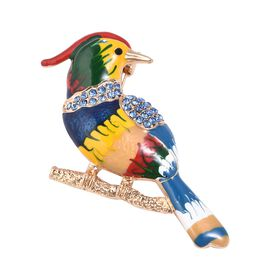 Blue and Black Austrain Crystal Parrot Brooch with Enameled