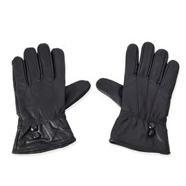 100% Genuine Leather Gloves (Size 9x23 Cm) - Black