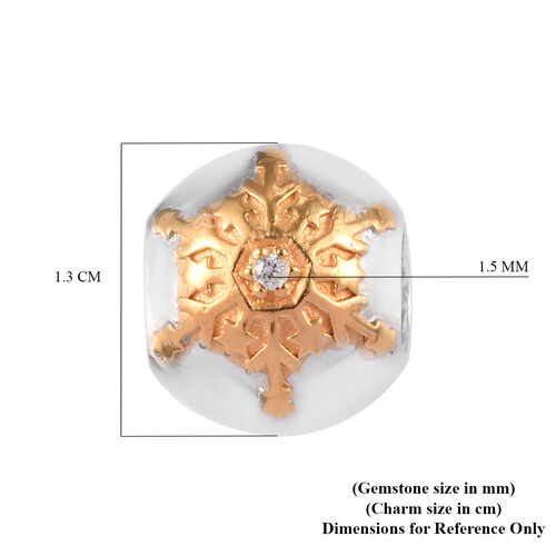 Charmes De Memoire - Natural Cambodian Zircon Snowflake Charm in Platinum and Yellow Gold Overlay Sterling Silver