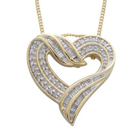 Diamond (Rnd and Bgt) Heart Pendant With Chain in 14K Gold Overlay Sterling Silver 0.330 Ct.