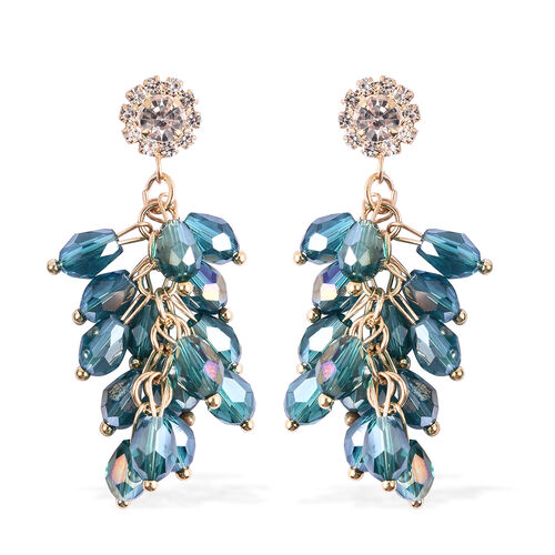Simulated Blue Topaz, White Austrian Crystal Dangling Earrings (with Push Back) in Gold Tone