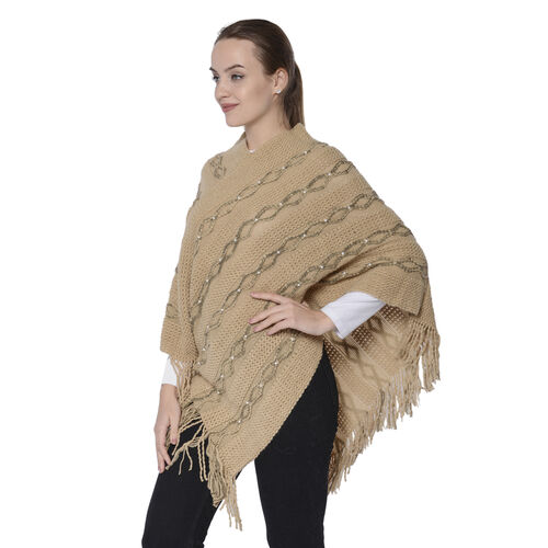 Knit Poncho with Beads (54x70cm) - Beige