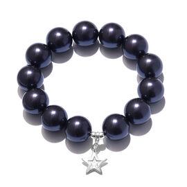 J Francis - Swarovski Dark Purple (Rnd 16 mm) Crystal Bracelet (Size 7.50) with Star Charm in Sterli