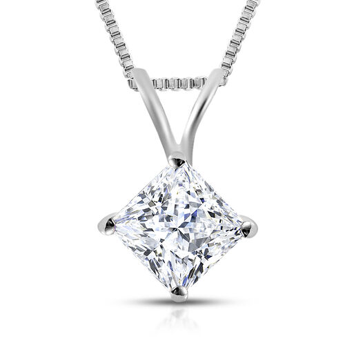 ILIANA 18K White Gold IGI Certified (SI2/H) Diamond (Princess Cut) Pendant with Chain 0.500 Ct.