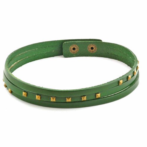 Green Leather Studded Wrap Bracelet in Goldtone (Size 8)