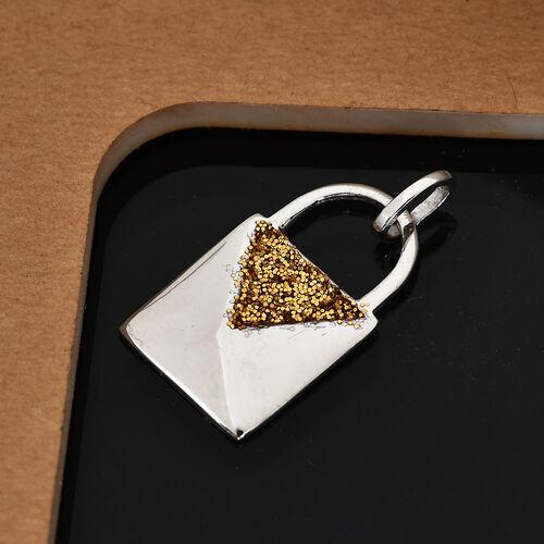 Designer Inspired- Platinum Overlay Sterling Silver Lock Design Pendant