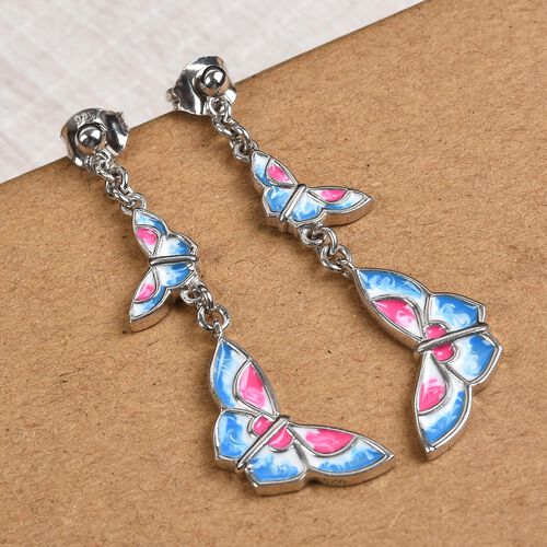 Platinum Overlay Sterling Silver Enamelled Butterfly Earrings (with Push Back)