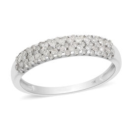 9K White Gold SGL Certified Diamond (I3/G-H) Band Ring 0.50 Ct.