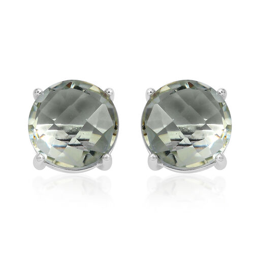 CHECKERBOARD CUT Green Amethyst (Rnd) Stud Earrings (with Push Back) in Sterling Silver 6.250 Ct.