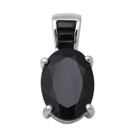 7.68 Ct AAA Boi Ploi Black Spinel Solitaire Pendant in Rhodium Plated Sterling Silver