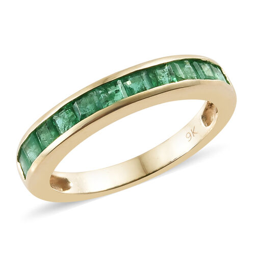 1 Carat AA Zambian Emerald Half Eternity Band Ring in 9K Gold 2.42 Grams