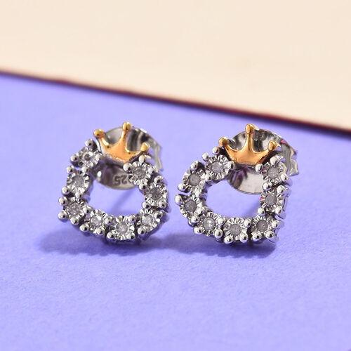 Diamond Heart Crown Earrings in Gold Overlay Sterling Silver