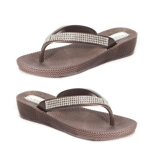 Ella Diamante Toe Post Sandals (Size 4) - Brown