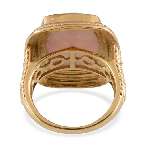 Peruvian Pink Opal (Cush) Solitaire Ring in 14K Gold Overlay Sterling Silver 7.750 Ct.