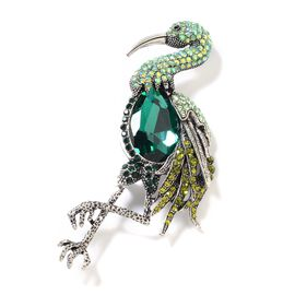 Simulated Emerald (Pear), Green and Black Austrian Crystal Crane Brooch in Silver Tone