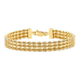 9K Yellow Gold Hollow 3-Strand Rope Bracelet (Size 7), Gold wt 5.50 Gms.