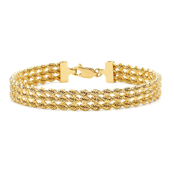 9K Yellow Gold Hollow 3-Strand Rope Bracelet (Size 7), Gold wt 5.20 Gms.