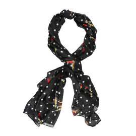 LA MAREY Pure 100% Mulberry Silk Flower and Polka Dot Pattern Scarf  (Size 180x110cm) - Black, White
