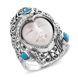 Princess Bali Collection OX Bone Carved Face (Pear 17x13 mm), Arizona Sleeping Beauty Turquoise Ring
