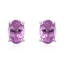 ILIANA 18 White Gold AAA Pink Sapphire (Ovl) Stud Earrings (with Screw Back) 1.100 Ct