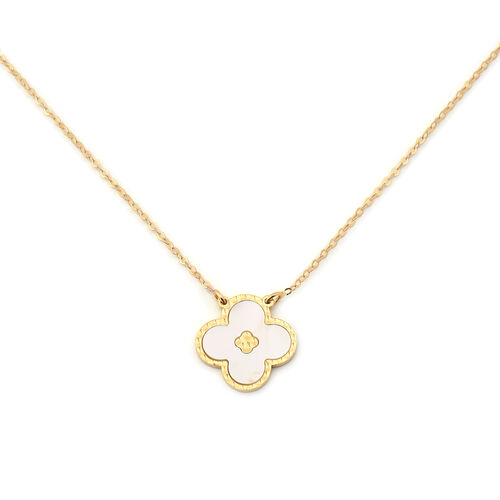 Italian Made - 9K Yellow Gold White Mother of Pearl Necklace (Size 20)