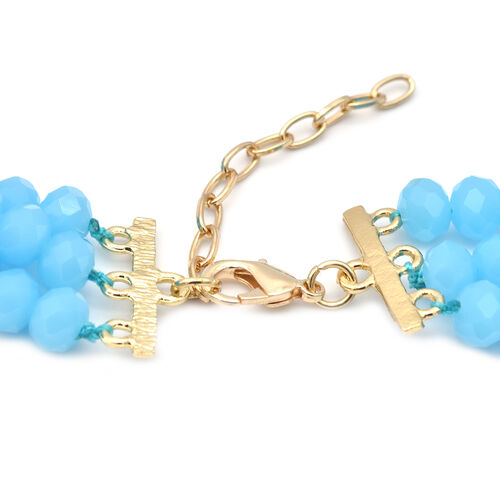 2 Piece Set -  Multi Colour Crystal and Simulated Amazonite Bead Necklace with Brooch (Size 20 with 2 inch EXtender)