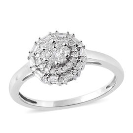 9K White Gold SGL Certified Diamond (Rnd and Bgt) (I3/G-H) Ring 0.330 Ct.