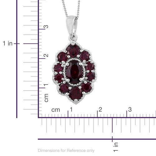 Rhodolite Garnet (Ovl) Pendant With Chain in Platinum Overlay Sterling Silver 2.750 Ct.