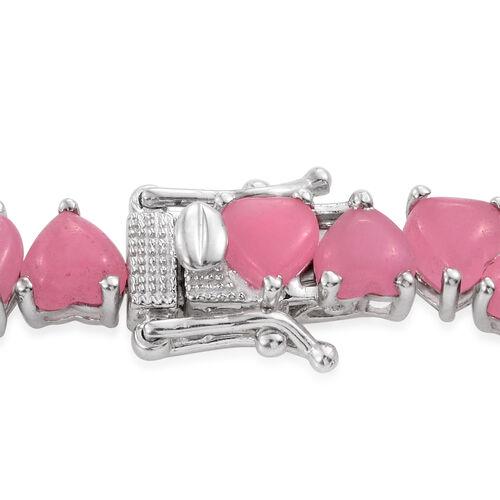 Pink Jade (Hrt) Bracelet (Size 7.5) in Platinum Overlay Sterling Silver 32.750 Ct.