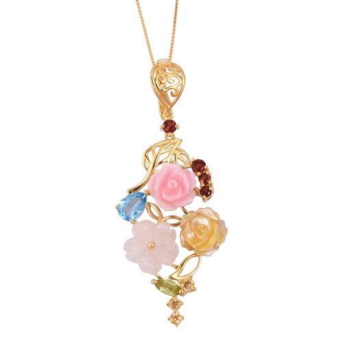 Jardin Collection-Marropino Morganite, Mother of Pearl, Swiss Blue Topaz and Multi Gemstone Floral Pendant with Chain (Size 18) in Yellow Gold Overlay Sterling Silver 10.850 Ct. Silver wt 5.23 Gms.