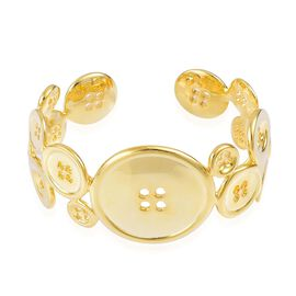 LucyQ Button Bangle (Size 7.25) in Yellow Gold Overlay Sterling Silver 63.50 Gms.
