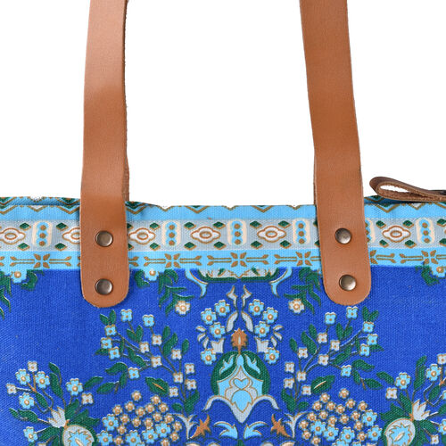 Floral Pattern Embroidery Bag (Size 30x10x42 Cm) with Zip Closure - Blue and Multicolour