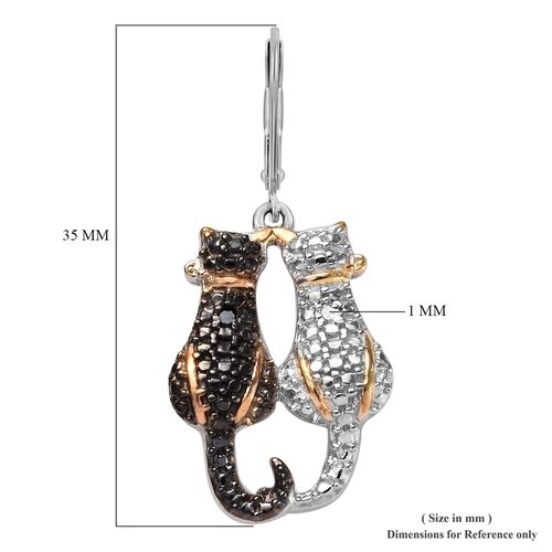 Black and White Diamond Twin Cat Earrings (With Lever Back) in Black Rhodium, Platinum and Gold Plated Sterling Silver