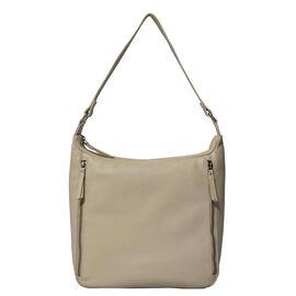 ASSOTS LONDON Pamela Genuine Pebble Grain Leather Hobo Shoulder Bag - Off White