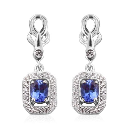 Premium Tanzanite and Natural Cambodian Zircon Earrings (with Push Back) in Platinum Overlay Sterlin