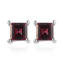 Rose Garnet Stud Earrings (with Push Back) in Platinum Overlay Sterling Silver 1.75 Ct.