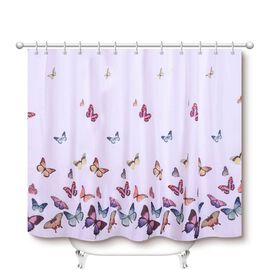 White Waterproof Shower Curtain with Butterfly Pattern and 12 Hooks (180x180cm)