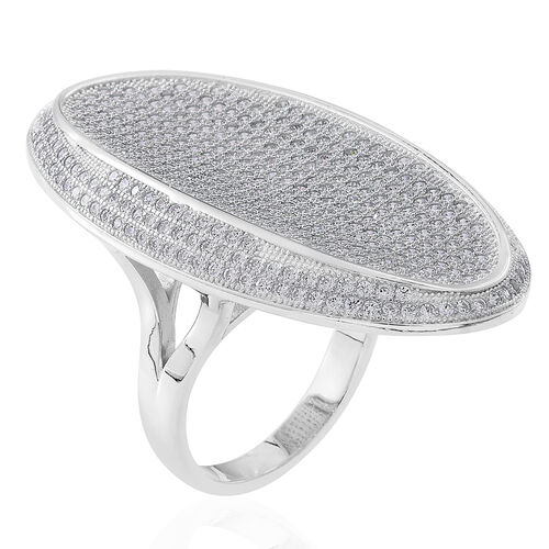 Signature Collection-ELANZA Simulated White Diamond (Rnd) Cluster Ring in Rhodium Plated Sterling Silver. No Of Stone 457.