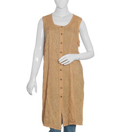 Beige Colour Straight Dress with Embroidery (Free Size)