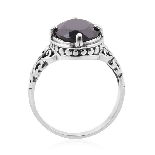 Royal Bali Collection Bio Ploi Black Spinel (Ovl) Filigree Hand Made  Ring in Sterling Silver 7.410 Ct