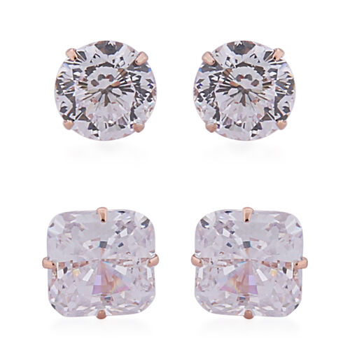 Set of 2 - ELANZA AAAA Special Radiant Cut Simulated Diamond Stud Earrings (with Push Back)  in Rose