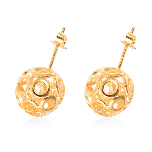 Yellow Gold Overlay Sterling Silver Ball Drop Hook Earrings (with Push Back)